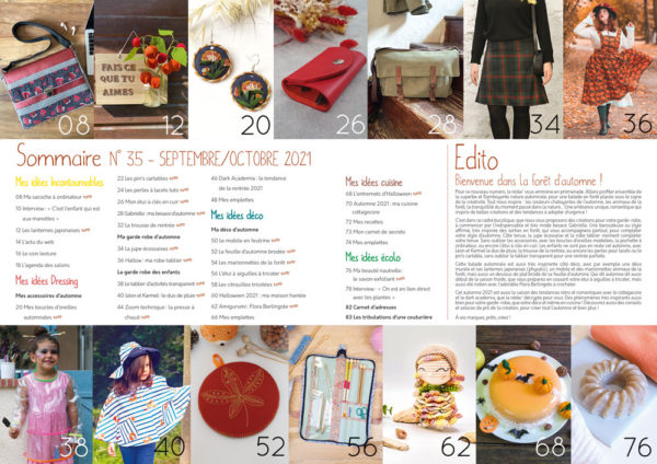 Sommaire Idées à Faire numéro septembre/octobre